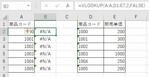 検索先の表のみ文字列でVLOOKUPが失敗している