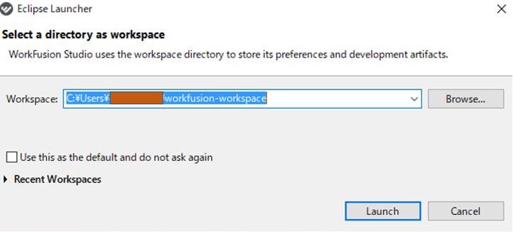 workspaceの場所をする画面。そのままLaunchをクリックする