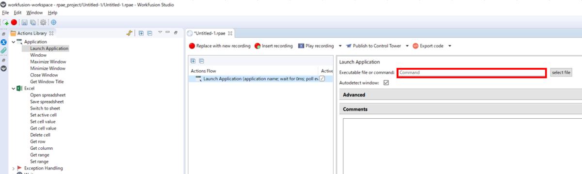 再掲。Extable file or command: にExcelアプリケーションのフルパスをコピペする