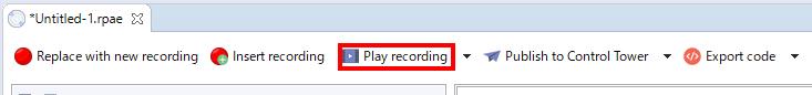 実行するにはPlay Recordingを押すだけ