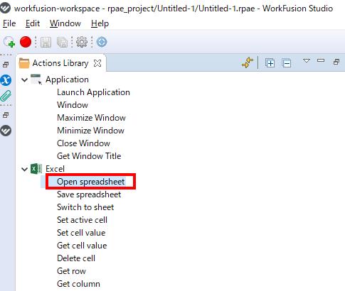 アクションライブラリからExcelを選択し、「Open spread sheet」をダブルクリック