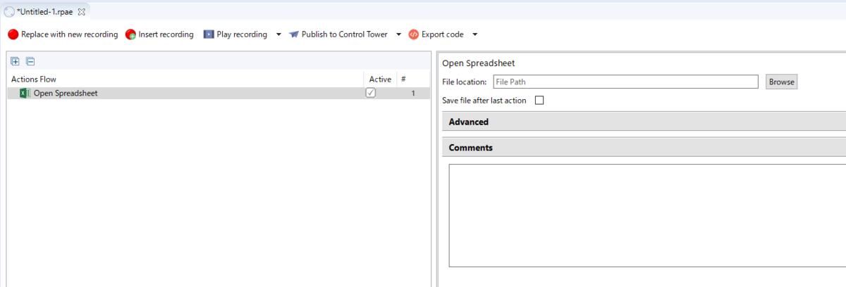 Open Spreadsheetアクションの中身を設定する画面が右のほうに表示された絵