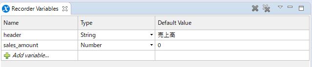 sales_amountというNumber型で初期値が0の変数を設定した画面