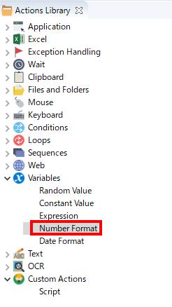 アクションライブラリからNumber Formatアクションを選択する画面