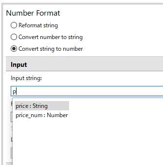 Number FormatアクションのInputの設定