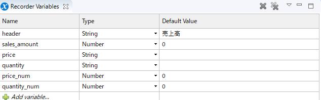 現時点でのRecorder Variables。売上高の計算に必要な変数は全て揃っている