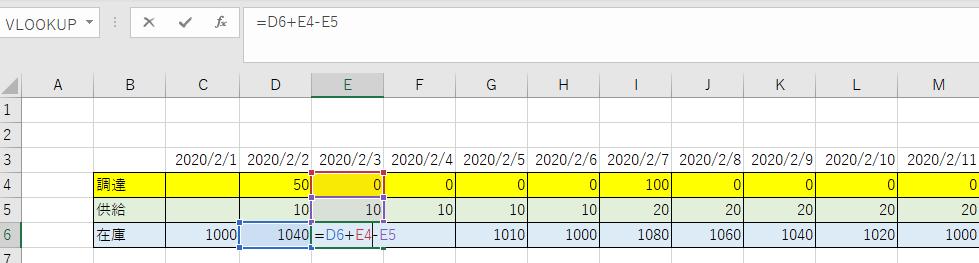 計算式を入れた在庫推移がわかるようになった