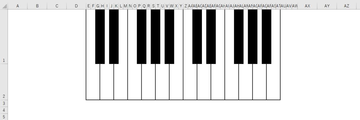 ピアノの鍵盤をエクセルシート上に再現する