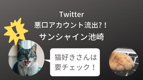 猫好きさんは要チェック!サンシャイン池崎さんのTwitterの悪口アカウントに癒されるはず!