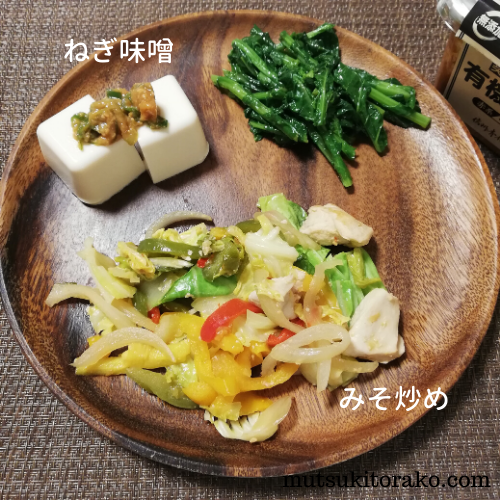 豆腐にねぎ味噌&鶏肉と野菜の味噌炒め