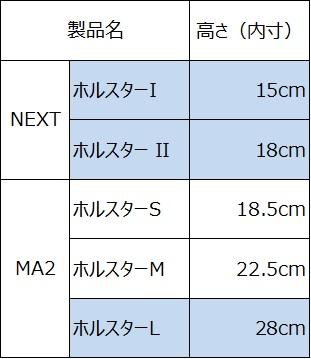 ホルスターバッグの内寸の高さ比較