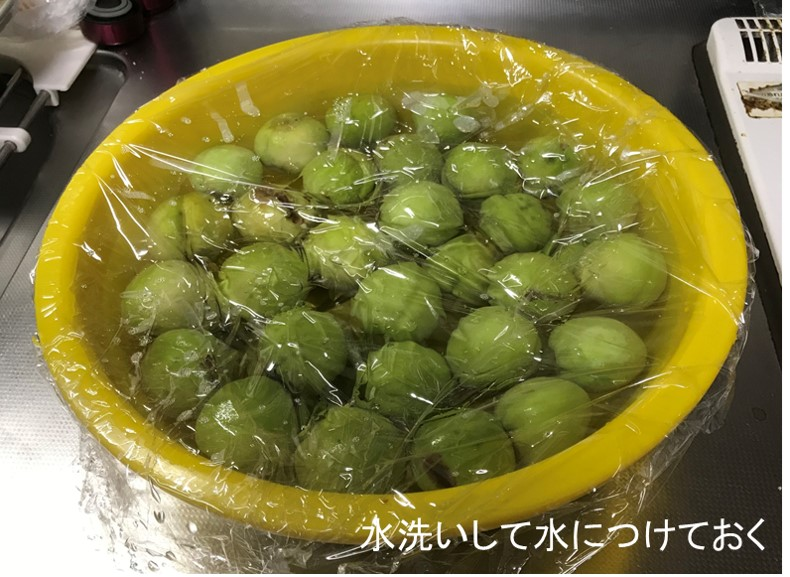 花桃の実を水で洗う