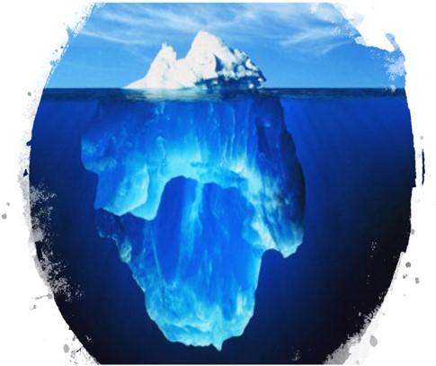 海面の浮かぶ氷山のイメージ