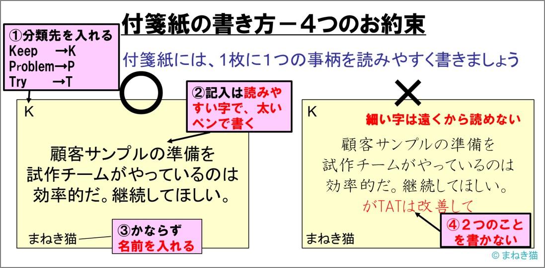 KPT法の付箋紙の書き方-4つのお約束