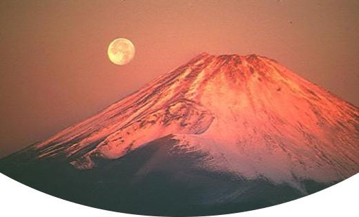 2,020年新年の挨拶と夜明けの富士山と月