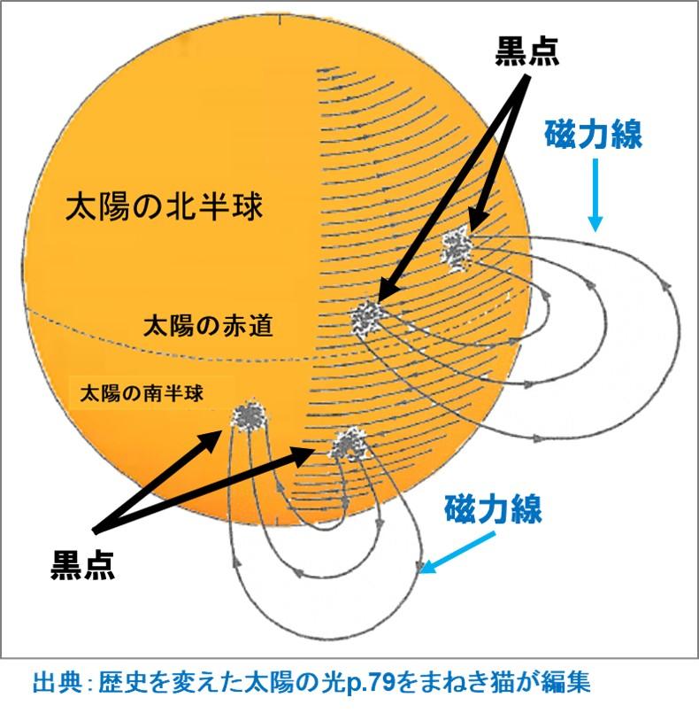 太陽の黒点と磁力線