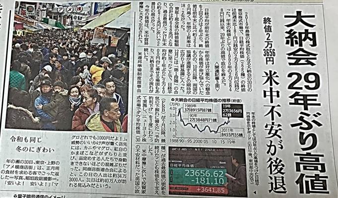 2019年12月30日読売新聞表紙ー大納会