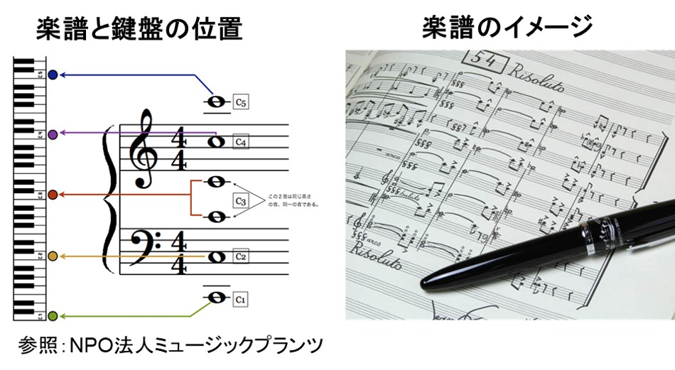 楽譜と鍵盤の位置関係は記譜法で論理的に決まっている