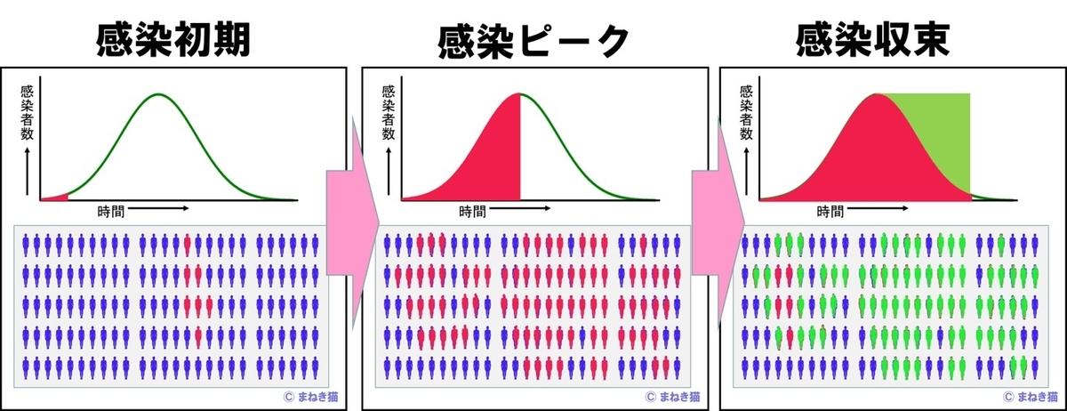 コロナウイルスの感染収束速度は抗体を持つ人の数で左右される