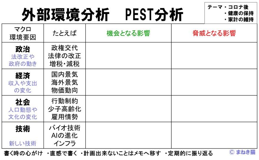 外部環境分析をPEST分析で行うフォーマット