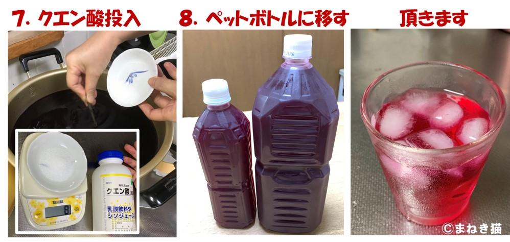 赤シソジュースの作り方手順-7クエン酸を投入しペットボトルの移して完成