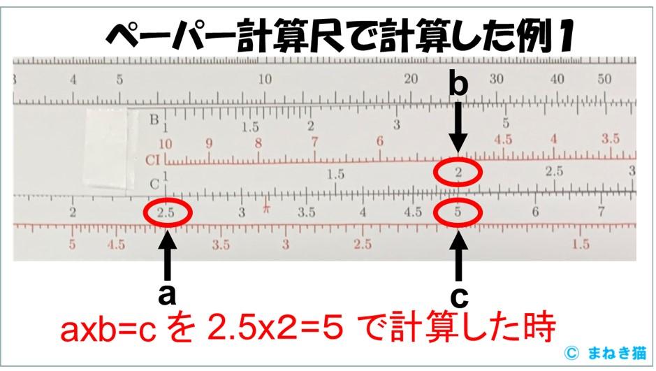 ペーパー計算尺で2.5x2=5 を計算した例