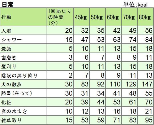 日常の活動での消費エネルギー一覧表
