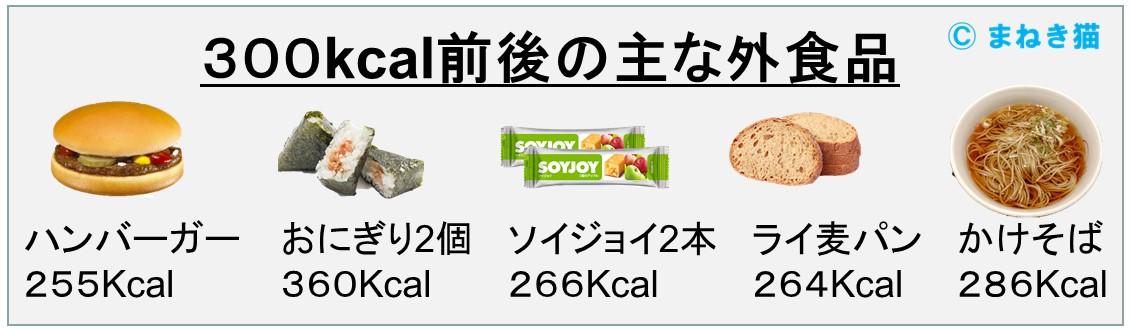 1-C-300kcal前後の主な外食品