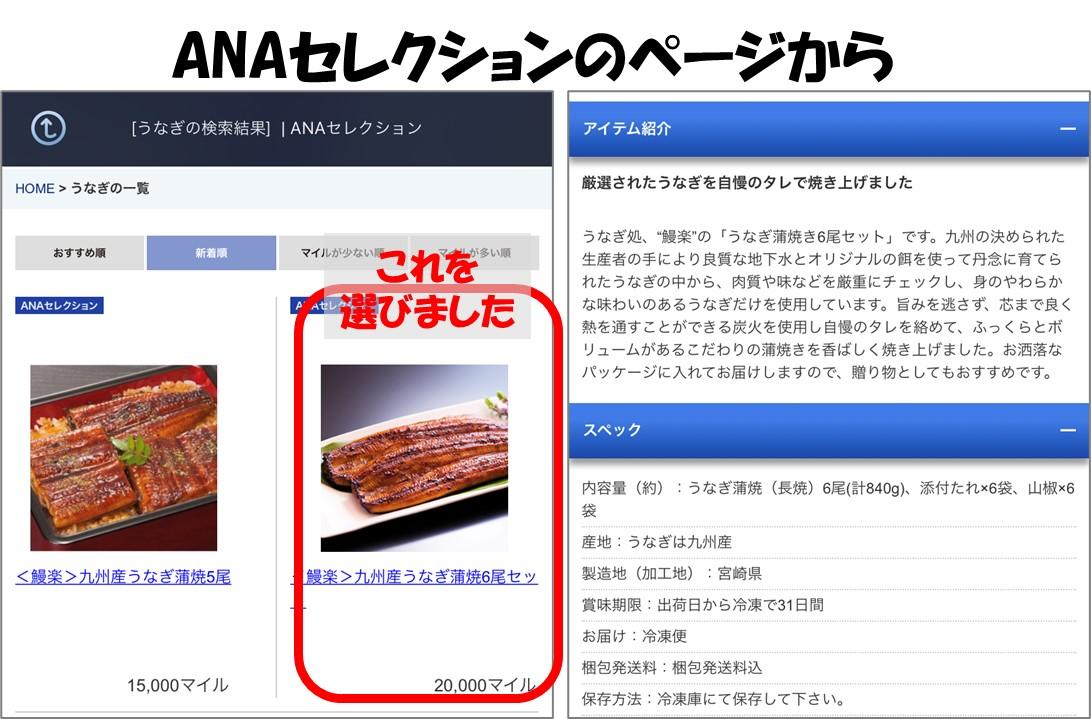 1-7-ANAセレクションのページから鰻楽のウナギ6尾セットを選ぶ