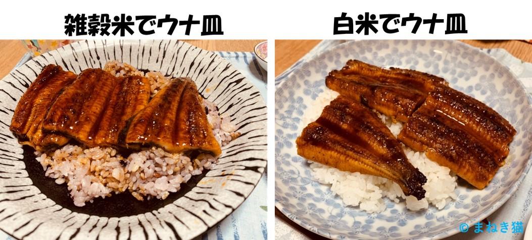 1-9-鰻楽のウナギを雑穀米と白米で食べる