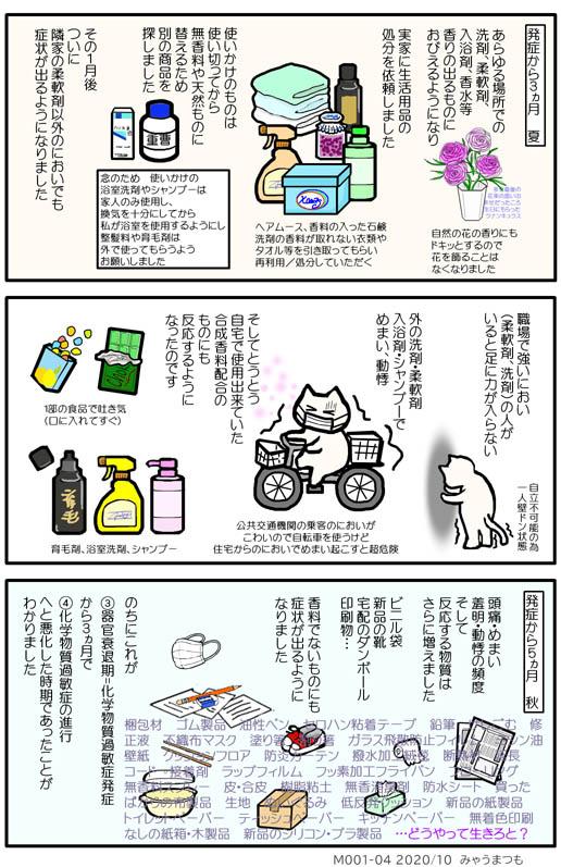 化学物質過敏症発症M001-04柔軟剤以外に反応多発性化学物質過敏症進行