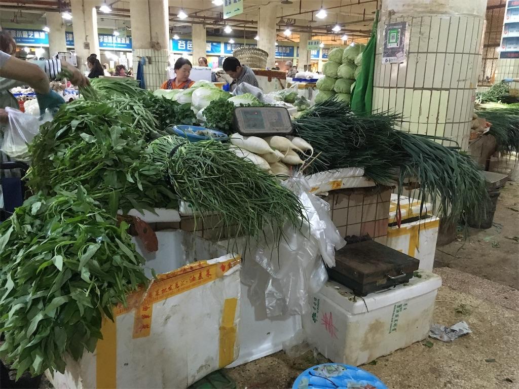 中国 重慶 学田湾 太陽溝菜市場 野菜売り場