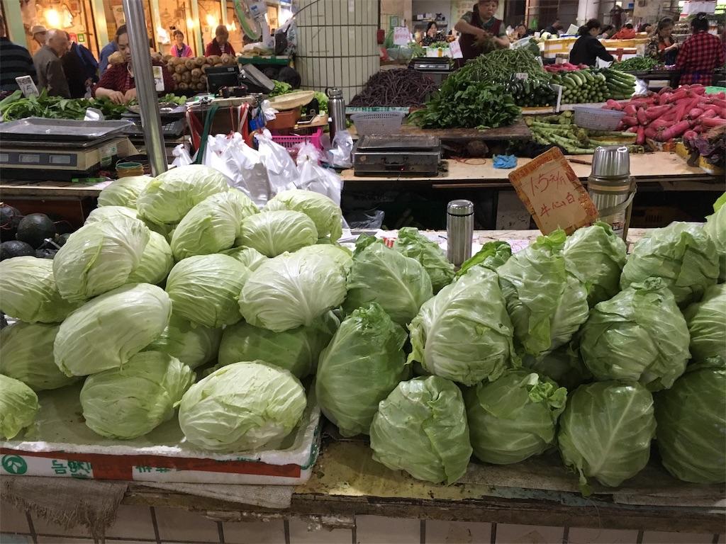 中国 重慶 学田湾 太陽溝菜市場 キャベツ