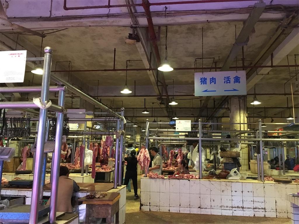 中国 重慶 学田湾 太陽溝菜市場 肉売り場