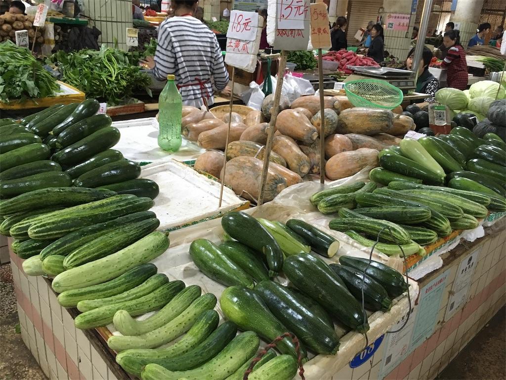 中国 重慶 学田湾 太陽溝菜市場 きゅうり