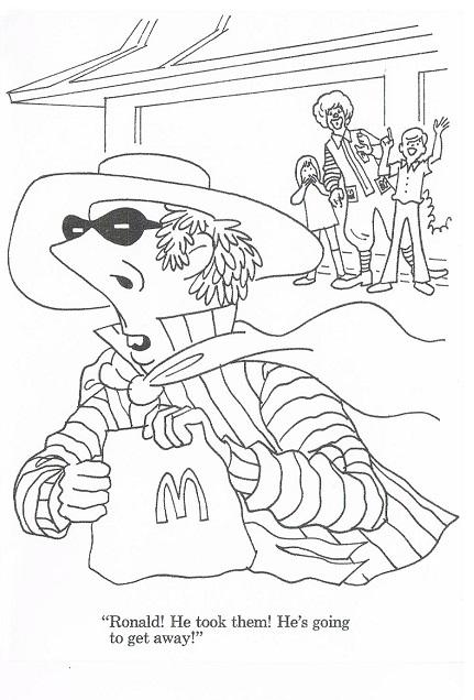 商用利用はご遠慮ください。70年代のアメリカマクドナルドのぬり絵です。