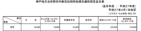 新築建物課税標準価格認定基準表
