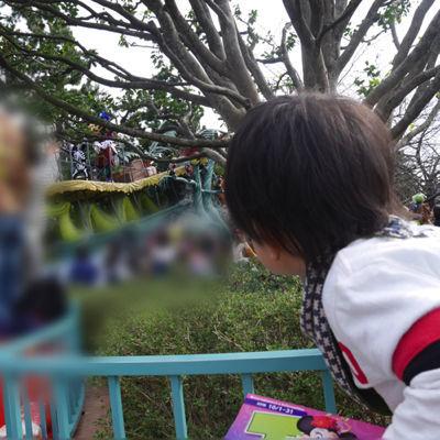 ディズニーランドのパレードを楽しむ1歳児