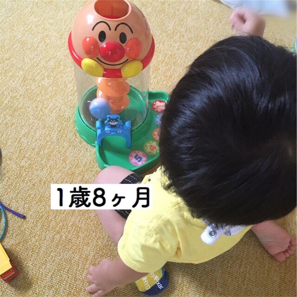 アンパンマンくるコロタワーで遊ぶ1歳児