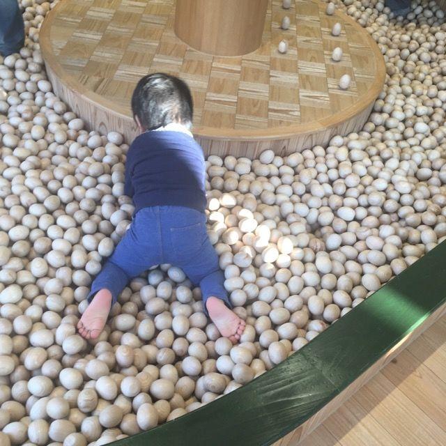 木製のボールプールではしゃぐ2歳