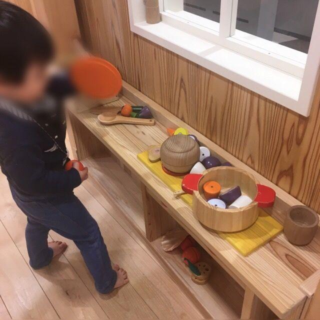 木製のおままごとコーナー