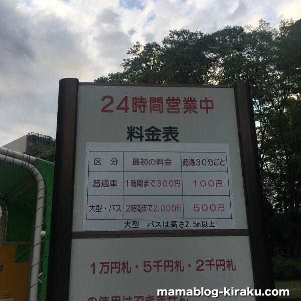 砧公園の駐車場料金