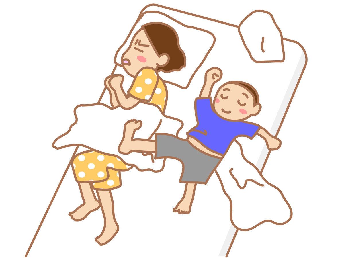 子供が布団をかけない。