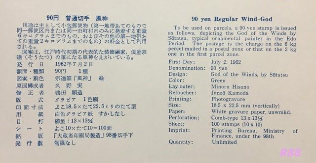 昭和37年7月2日発行の通常切手90円風神の初日カバーNCC版に付属の解説書の画像