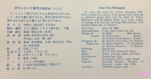昭和37年(1962年)6月23日発行のオリンピック東京大会募金運動の初日カバーに付属の解説書の画像