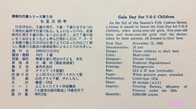 昭和37年(1952年)11月15日発行の七五三切手の初日カバー NCC版の渋谷風景印押印に貼付の解説書