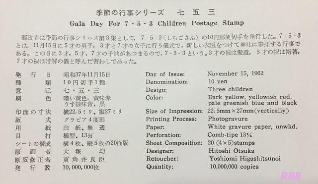昭和37年(1962年)11月15日発行の七五三切手 渋谷風景印の初日カバーの画像