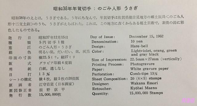 昭和38年(1963年)年賀切手の初日カバー付属の解説書