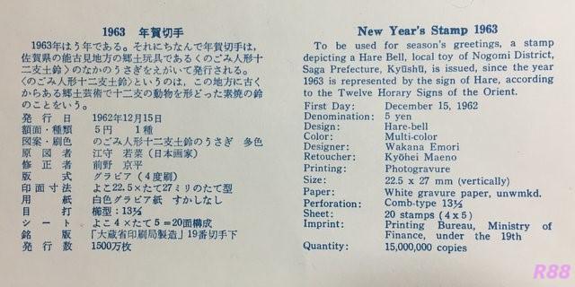 昭和38年(1963年)年賀切手 昭和37年(1962年)12月15日発行の初日カバーに付属の解説書