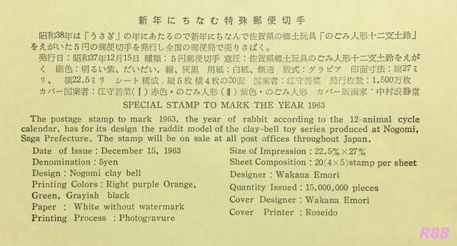 昭和37年12月15日発行の中村浪静堂の昭和38年年賀切手の初日カバーに付属の解説書の画像
